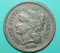 1869/1869 THREE CENT NICKEL 3CN - RPD-001 FS-302 REPUNCHED DATE