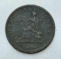 OLD 1812  1832  LOWER CANADA CANADIAN TIFFIN HALF PENNY COPPER TOKEN
