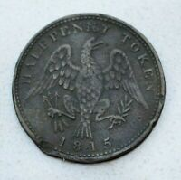 OLD 1815 LOWER CANADA CANADIAN / USA AMERICAN EAGLE HALF PENNY TOKEN