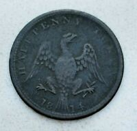 OLD 1814 LOWER CANADA CANADIAN / USA AMERICAN EAGLE HALF PENNY TOKEN
