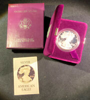 1986 AMERICAN PROOF SILVER EAGLE - WITH BOX AND COA