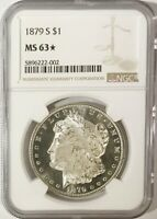 1879 S MORGAN DOLLAR NGC MINT STATE 63 STAR, DMPL OBV., B&W, SPECTACULAR CREAM-PUFF CAMEO