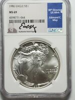 1986 AMERICAN SILVER EAGLE $1 MINT STATE 69 NGC EDMUND C. MOY SIGNATURE