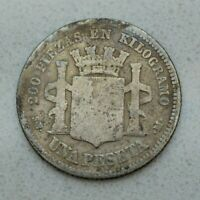 OLD 1869 SPAIN SPANISH PROVISIONAL GOVERNMENT PESETA SILVER COIN  NICE