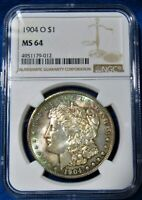 1904 O MORGAN SILVER DOLLAR NGC MINT STATE 64 LY TONED