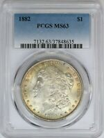 1882-P PCGS SILVER MORGAN DOLLAR MINT STATE UNC MINT STATE 63 TONED