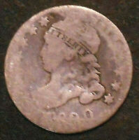 1820-P OR 1830-P CAPPED BUST SILVER DIME.  SHIPS FREE