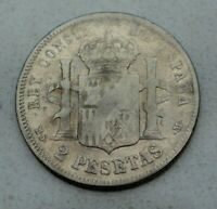OLD 1882  82  SPAIN SPANISH 2 PESETAS SILVER COIN  ALFONSO XII NICE
