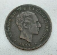 OLD 1877 SPAIN SPANISH 5 CENTIMOS COIN ALFONSO XII NICE