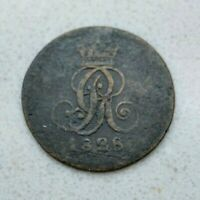 OLD 1828 B GERMAN STATES GERMANY HANNOVER PFENNIG COPPER COIN  NICE