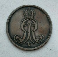 OLD 1853 B GERMAN STATES GERMANY HANNOVER 2 PFENNIG COIN NICE