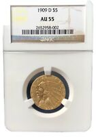 1909 D HALF EAGLE GOLD INDIAN NGC AU 55 NR GREAT COIN