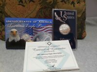 UNITED STATES SILVER EAGLE COIN, 2003 UNCIRCULATED, .999 SILVER, IN CASE,&COA.