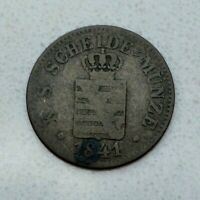 OLD 1841 GERMAN STATES GERMANY SAXONY ALBERTINE SILVER NEW GROSCHEN COIN