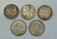 LOT OF 5 OLD GREAT BRITAIN BRITISH SILVER 3 PENCE 3D COINS 1911 35  NICE