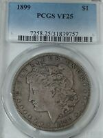 1899-P MORGAN SILVER DOLLAR PCGS VF25  DATE,   LOW MINTAGE 330,000