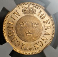 1868 SWEDEN CHARLES XV.BEAUTIFUL GOLD10 FRANCS