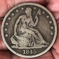 1845 SEATED LIBERTY SILVER HALF DOLLAR SEMI KEY DATE 50 CENT