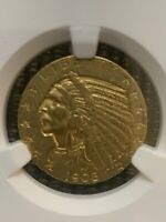 1908 5 GOLD INDIAN COIN NGC AU 55