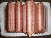 ROLL OF 50 COPPER WHEAT PENNIES,  1940'S-1950'S