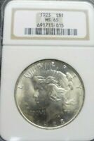 1923-P PEACE SILVER DOLLAR  NGC MINT STATE 65  TONED REV