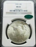 1923-P PEACE SILVER DOLLAR  NGC MINT STATE 65  CAC