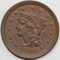 1849 1C BRAIDED HAIR LARGE CENT W/ OLD ANACS TAG.
