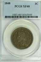 1848 BRAIDED HAIR LARGE CENT : PCGS EXTRA FINE 40
