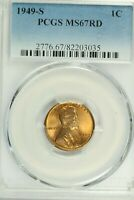 1949-S LINCOLN CENT : PCGS MINT STATE 67RD BLAZING RED