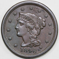 1846 1C SMALL DATE N-1 BRAIDED HAIR LARGE CENT