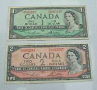 LOT OF 2  OLD 1954 CANADA CANADIAN MODIFIED BANKNOTES $1 $2 NICE