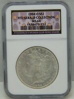 1904 O MORGAN SILVER DOLLAR COIN MINT STATE 64 FITZGERALD COLLECTION NGC