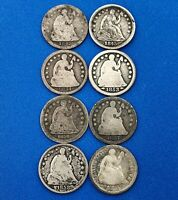1842 P MIXED DATE EIGHT COIN LOT PHILADELPHIA MINT SILVER SEATED HALF DIMES