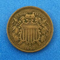 1866 P UNITED STATES BRONZE TWO CENT PIECE 2C TEN YEAR SERIES BETTER KEY COIN