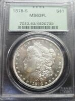 1878-S  MORGAN SILVER DOLLAR  PCGS MINT STATE 63 PL  OGH