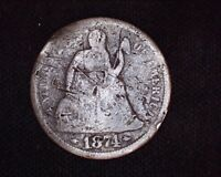 1874 S SEATED LIBERTY DIME 10C  KEY DATE