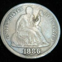 1886 SILVER PHILADELPHIA MINT SEATED LIBERTY DIME LOT823