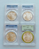 LOT OF 4 MIXED DATE 1881-S - 1888-O MORGAN SILVER DOLLARS  PCGS GRADED MINT STATE 63