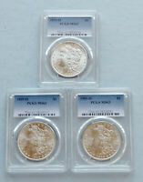 LOT OF 3  1899-O - 1900-O MORGAN SILVER DOLLARS  PCGS CERTIFIED & GRADED MINT STATE 63