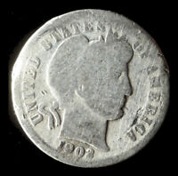 1902-P BARBER 90 SILVER DIME SHIPS FREE. BUY 5 FOR $2 OFF