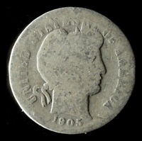 1905-P BARBER 90 SILVER DIME SHIPS FREE. BUY 5 FOR $2 OFF