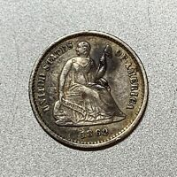 1862  SEATED LIBERTY HALF DIME   AU DETAILS  KEY TYPE COIN