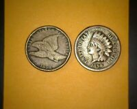 1858 SL FLYING EAGLE  CENT AND 1859 INDIAN CENT