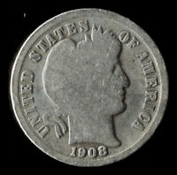 1908-P BARBER 90 SILVER DIME SHIPS FREE. BUY 5 FOR $2 OFF