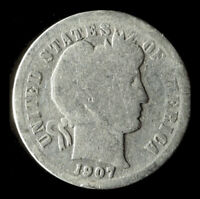 1907-P BARBER 90 SILVER DIME SHIPS FREE. BUY 5 FOR $2 OFF