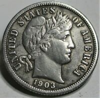 1903-S BARBER DIME 10C VF  US COIN.