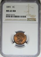 1891 INDIAN HEAD PENNY NGC MINT STATE 63RB CLASHED