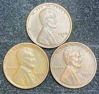 1930 S 3 COINS LINCOLN WHEAT PENNIES- SHIPS FREE