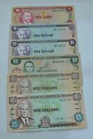 LOT OF 6 OLD ALL DIFFERENT 1970 1991 JAMAICA JAMAICAN 50C TO $5 BANKNOTES  NICE