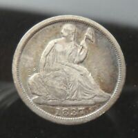 1837 SMALL DATE SEATED LIBERTY HALF DIME H10C UNITED STATES 90  SILVER COIN
